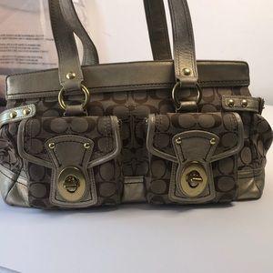 Coach handbag F13131 brown and golden trim